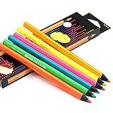 DEBON Dry Textmarker Bleistift für Bibel und Bürobedarf Neon Textmarker Buntstifte für Schilder 6 brillante Farben Set Zeichnen zum Schreiben Skizzieren Tintenstrahlkopie Faxpapier PBA frei ungiftig