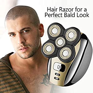 Electric Head Shaver Razor for Bald Men Gold Grooming Kit 5 in 1 Wet Dry Rotary Shavers Nose Hair Beard Trimmer Clippers Facial Cleansing Brush Cordless Waterproof USB Charging Rechargeable