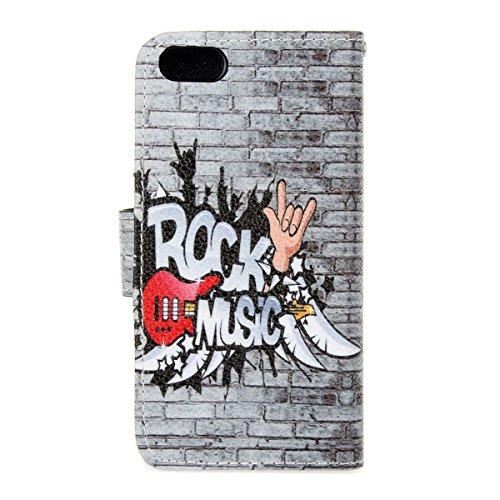 SMART LEGEND Brieftasche Hülle für Apple iphone SE Wallet Case iPhone 5S 5 Premium Schutzhülle London und Paris Landscape Muster Malerei Ledertasche Mode Handyhülle Farbe Tasche Etui Neu Handytasche Z Rock Music and Guitar