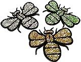 Strass Glitzer Aufnäher Biene Aufbügler Bügelbilder Applikation für Kinder Iron on Patches Glitzer Strass zum aufbügeln
