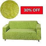 MOVING GARDEN jardín Jacquard tejido elástico con textura Elástico fundas de sofá silla, sofá Slipcovers niños mascotas pantalla (La hierba verde, 2 Plazas)