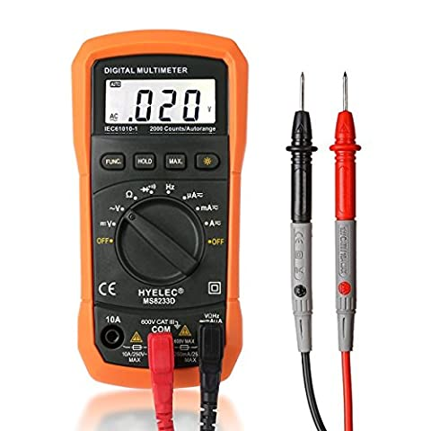 Multimeter, Crenova MS8233D Auto Ranging Digital Multimeter AC Voltage Detector Portable Tester Meter Electronic Measuring Instrument Audible Continuity Tester with LCD Display