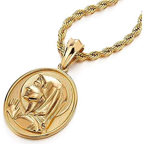 Color Oro Medalla Milagrosa Virgen María Marry, Collar con Colgante Hombre Mujer, Acero Inoxidable, Cadena Cuerda