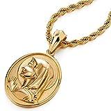 Color Oro Medalla Milagrosa Virgen María Marry, Collar con Colgante Hombre Mujer, Acero Inoxidable, Cadena Cuerda 75CM