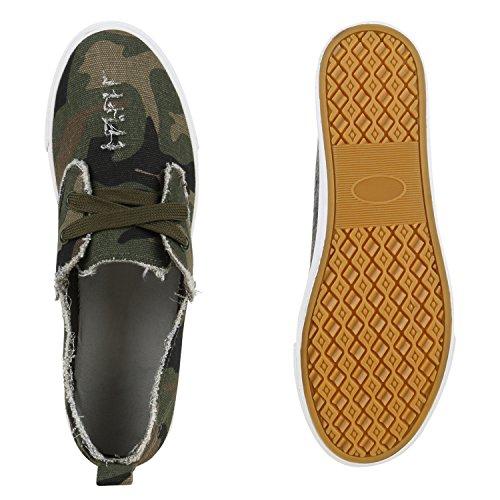 Damen Sneakers Camouflage Schnürer Prints Freizeit Schuhe Camouflage VGJagBw