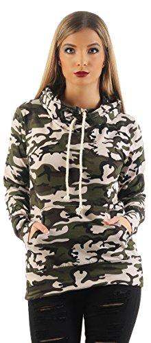 Mr.Shine Damen Kapuzenpullover Schräg Kragen Camouflage Pullovershirt Langarmshirt In Den Größen S, M, L, XL, XXL (XXL, Beige) (Lycra-kollektion Schöne)