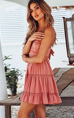 ECOWISH V Ausschnitt Kleid Damen Spitzenkleid Träger Rückenfreies Kleider Sommerkleider Strandkleider Rosa-1 XL