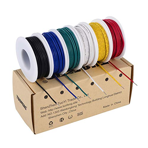 22 Awg Solid Wire (TUOFENG 22 AWG Solid Wire Kit 6 verschiedene Farben 9 Meter Spulen 22 Gauge Haken Up Wire Kit Kit)