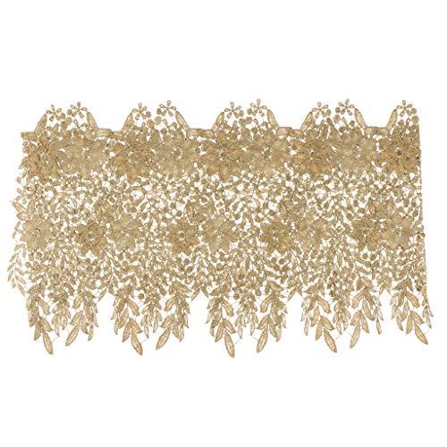 perfk 1 Yard Spitzenbordüre Vintage Spitzenborte Spitzenband Spitzenbesatz Dekoband Quaste Spitzenapplikation, Breite: Ca. 28,5cm - Gold -