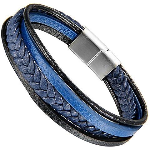 Flongo Men's Womens Stainless Steel Retro Woven Blue Leather Wrap Bangle Bracelet, 8.5 inch