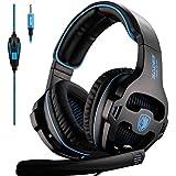 SADES SA810 PS4 Xbox One oreillette over oreille stéréo Gaming casque Bass Gaming casque avec isolation phonique microphone (noir et bleu)