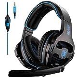 SADES SA810 PS4 Xbox One Headset über Ohr Stereo Gaming Headset Bass-Spiel-Kopfhörer mit Mikrofon Schallschutz (schwarz und blau)