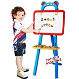 #1: 3 In 1 Educational Magnetic White Chalk Board Learning Easel For Kids 84 Pcs