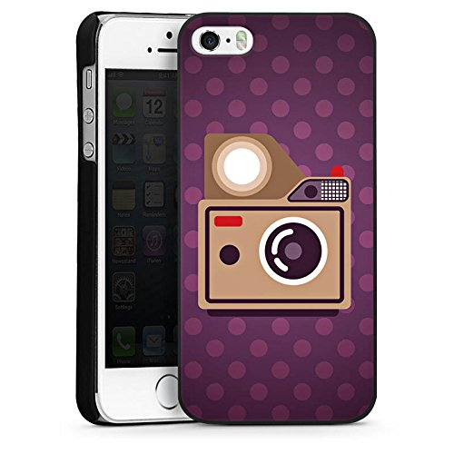 Apple iPhone 5s Housse Étui Protection Coque Photo Caméra Photographie CasDur noir