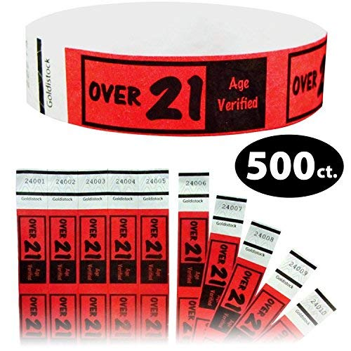Goldistock 3/10,2 cm Tyvek Wristbands over 21- Bright red- Easy Drinking Age identificazione #05-500 Ct.
