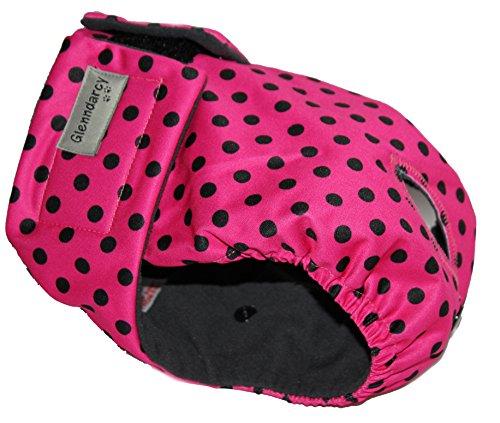 Schutzhose für Hündinnen, Hund Windeln , Premium-Hundewindel, waschbare Liner Option, Größe S, Dotty Pink