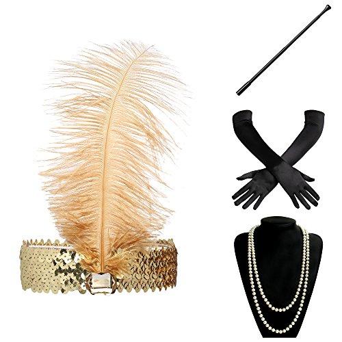 ArtiDeco 1920s Flapper Accesorios de los Años 20 Accessorios de Charlestón para Mujer Disfraz Gran Gatsby(Diadema, Collar de Perlas, Boquilla y Guantes)