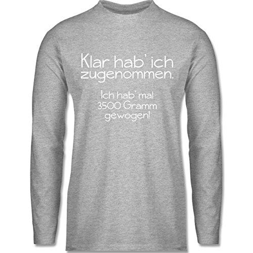 Shirtracer Statement Shirts - Klar HAB' Ich Zugenommen - Herren Langarmshirt  Grau Meliert