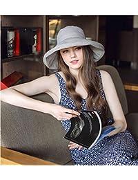 Sombrero de algodón para mujer con cordón ajustable, ligero, ajustable, para viaje, pesca, camping, senderismo, escalada, ala, amplia , gris