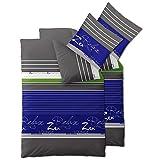 CelinaTex Touchme Mirja Biber Bettwäsche 135 x 200 cm 4-teilig blau grau grün weiß Flauschiger Bettbezug Streifen 0004097