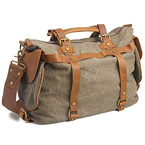 GSPStyle Unisex Canvas Cross-body Bag with Leather Decor Colour Olive Gray Green