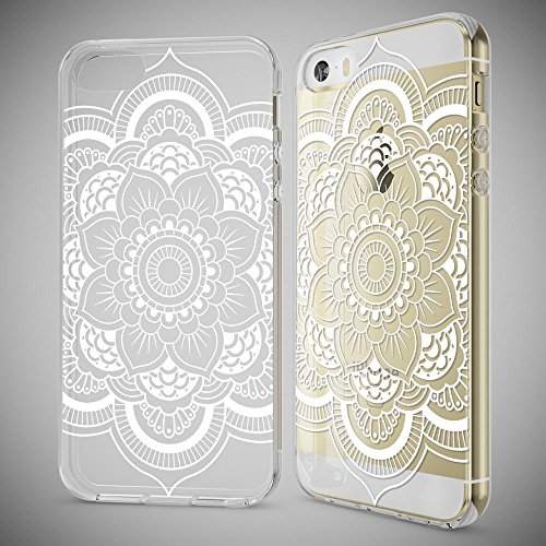iPhone SE 5 5S Coque Protection de NICA, Housse Motif Silicone Portable Premium Case Cover Transparente, Ultra-Fine Souple Gel Bumper Etui pour Apple iPhone 5 5S SE - Transparent Pattern Flowers