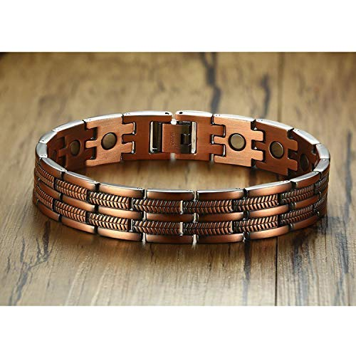 13mm Red Copper Magnetic Bracelets for Man Women Pain Relief Male Jewelry Tire Texture Link Bracelet -