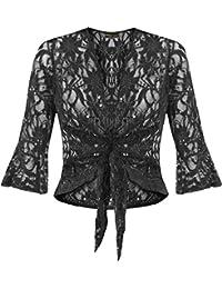 neue Damen plus size binden 3/4 ausgestelltem Shrug Spitze Pailletten Bolero top