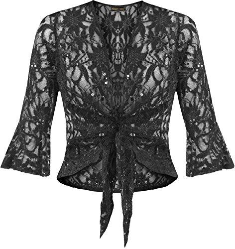 nouvelles dames plus la taille ficeler 3/4 évasée manche haussement dépaules dentelle sequin bolero top Noir - Noir