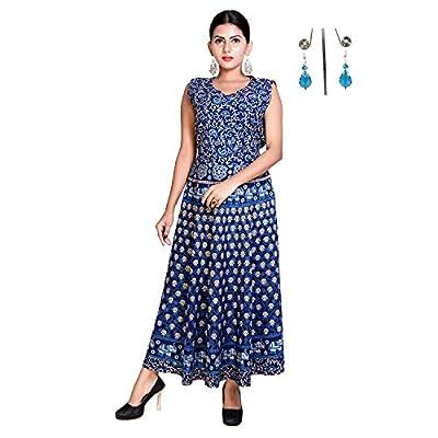 Eshopitude Cotton Jaipuri Long Dress with Beautiful Earring