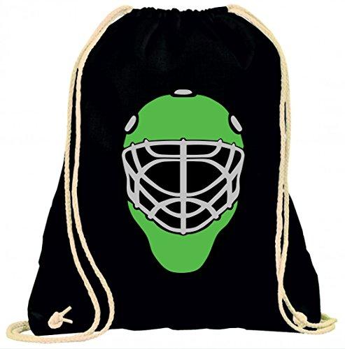 'Turn Bolsa 'Casco de hockey sobre hielo de máscara de portero de Protectora Protector de campo con cordón–100% algodón de bolsa Con Asas De Mochila de bolsa de deporte, negro