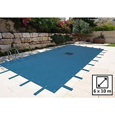 Lona piscina rectangular 6x 10m–Color Azul Marino–140g/m2con Red para desagüe