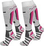 1 oder 2 Paar Ski- / Snowboardsocken Thermo Unisex atmungsaktiv Farbe Weiß/Pink/2er Größe 39/42