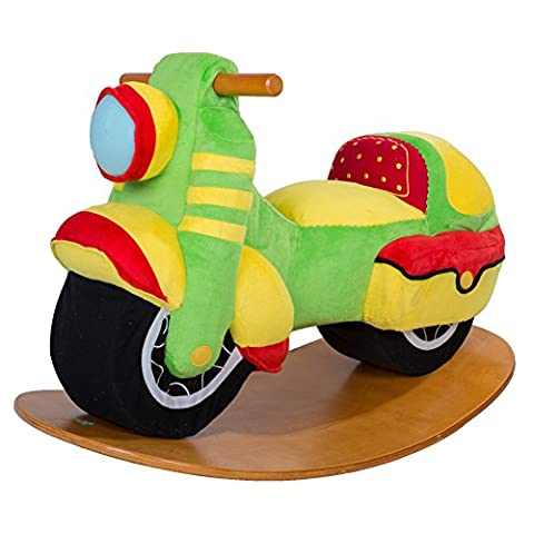 Labebe Baby Wooden Rocking Horse Green Motorbike, Boys & Girls Toddler Super Cool Rocking Ride-on Toys for 1-3 years old, Stuffed Seat, ASTM/CE Safety Certified, Creative Birthday