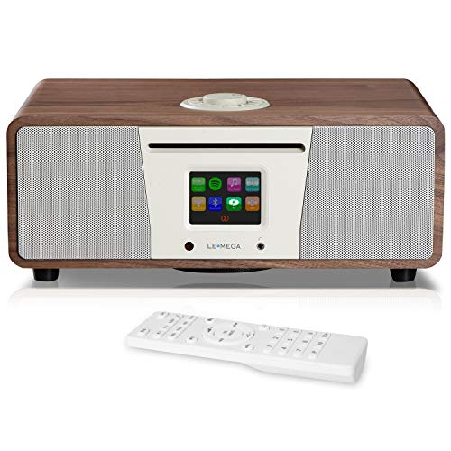 LEMEGA M4+ All-in-One Smart Music System (2.1 Stereo) with CD, Wi-Fi, Internet Radio, Spotify, Bluetooth, DLNA, DAB, DAB+, FM Radio, Clock, Alarms, Presets, and Wireless App Control - Walnuss (In One All Stereo-cd-player)