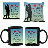 YaYa Cafe Ceramic All I Need Is You Love Printed Mugs With Cushion Cover And Coaster (Black) Set Of 3