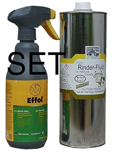 franzosenoel Effol Tiroler Steinöl - Bremsenöl - Fiegenöl gegen Insekten, Bremsen usw Bremsen-Blocker 500 ml im Set