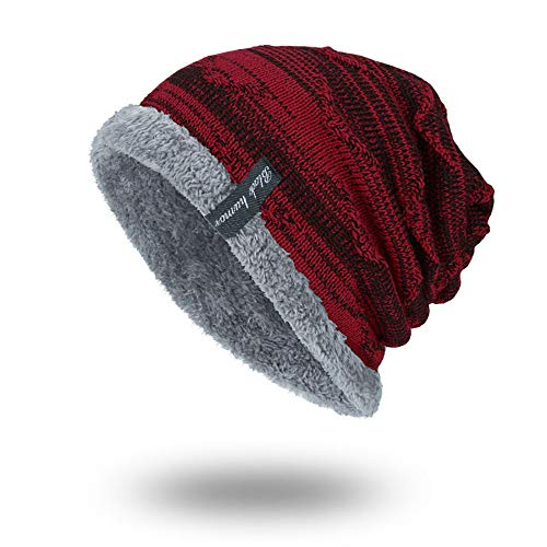 eanie Hat Men Warm Knit Long Slouch Skull Cap Thermal Mit Weichem Futter,Red ()