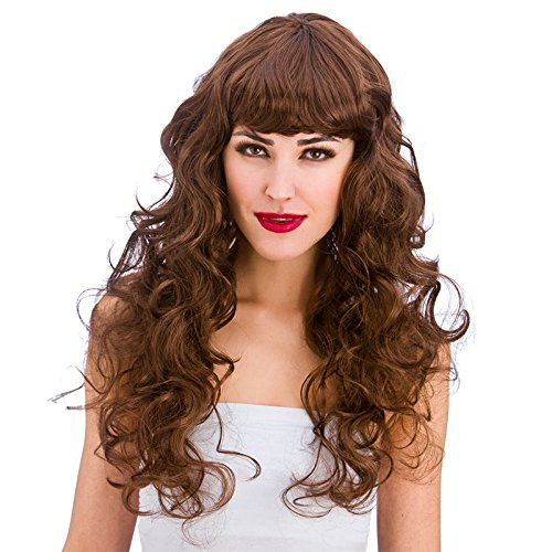 urly Long Wig with Fringe-Brown (Foxy Lady Kostüme)