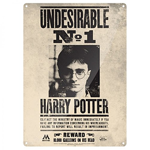 Harry Potter - A3 Blechschild - Undesirable No. 1 - Reward 10.000 Galleons (Harry Deluxe Robe Black Potter)