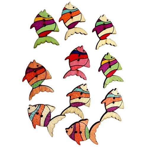 Generic 50pcs Colorful Fish Wooden Buttons Embellishment Scrapbooking Craft DIY