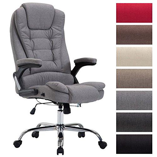 CLP XXL Chefsessel Thor mit Stoffbezug, max. belastbar bis 150 kg, Bürostuhl mit Armlehnen, höhenverstellbar, Drehstuhl mit dickem Polster Grau