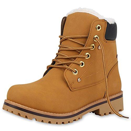 SCARPE VITA Damen Stiefeletten Worker Boots Warm Gefütterte Outdoor Schuhe 153000 Hellbraun 38