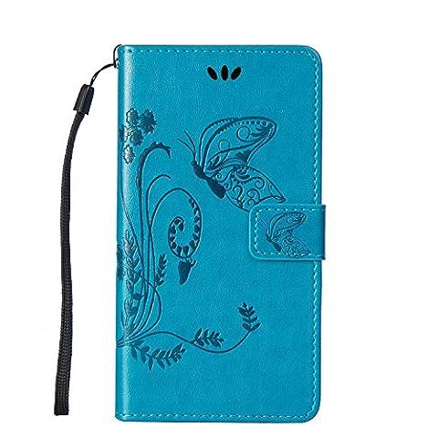 Housse Samsung S3 Mini, SpiritSun Etui en PU Cuir Portefeuille Coque Protection pour Samsung Galaxy S3 Mini i8190 Fleur et Papillon Modèle Case avec Fonction Support Stand (Bleu)