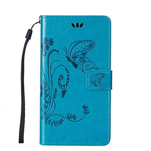 Lumia 640 XL Hülle, Anlike Schutzhülle Microsoft Lumia 640 XL /Nokia Lumia 640 XL (5,0 Zoll) Wallet Tasche [Butterfly geprägte Serie] Handyhülle für Blau