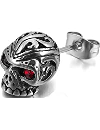 YELLOW CHIMES Single Silver Skull Stud Earrings for Boys and Men