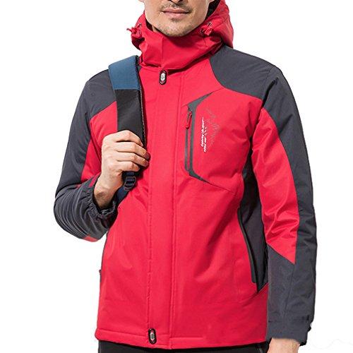 emansmoer Herren Windbreaker Baumwolle gepolstert Fleece gefüttert Mantel Wasserdicht Outdoor Sport Wandern Ski Jacke (XX-Large, Rot) (Ski 179cm)