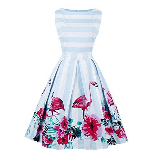 Damen Vintage 1950er Rockabilly Kleid Cocktailkleid Abendkleid Ärmellos Retro Schwingen Große Größen Kleider A-Line Feierliche Anlässe M -
