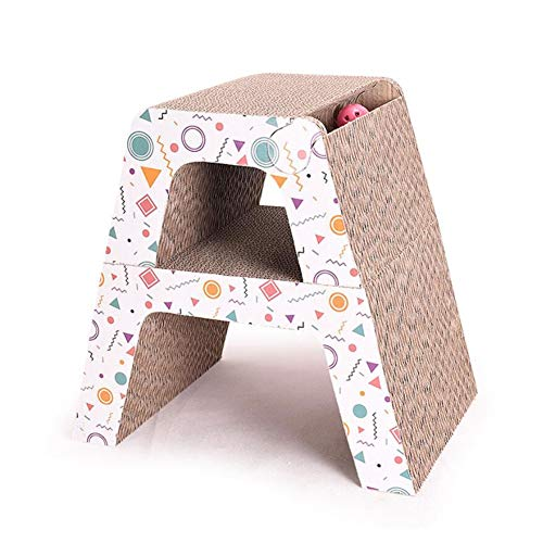 Kratzmatten 2 In 1 Cat Scratch Board, Wellpappe, Katzenkratzenspielzeug, Schleifzubehör Für Haustierkrallen, Cat Jumping Platform Multifunktionskombination - 2-teiliges Set