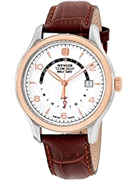 WENGER WOMEN'S 43MM BROWN LEATHER BAND STEEL CASE SWISS QUARTZ WATCH 79306C
